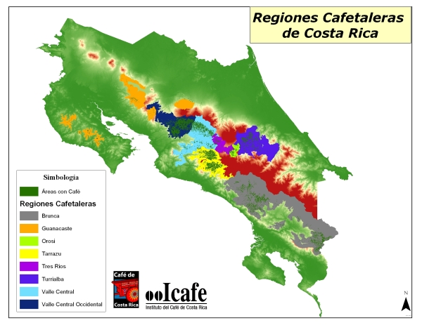 This map shows the coffee producing regions of Costa Rica. Mountains regions that do not produce coffee are indicated in red. Photo courtesy of ICAFE